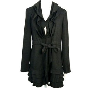 Cupio ruffle long tie jacket grey
